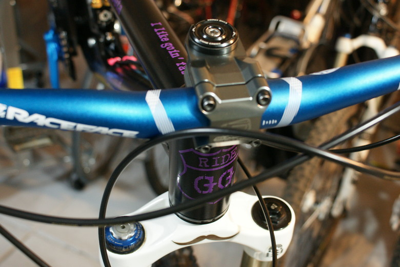 I like goin' fast on the top tube in custom purple graphics