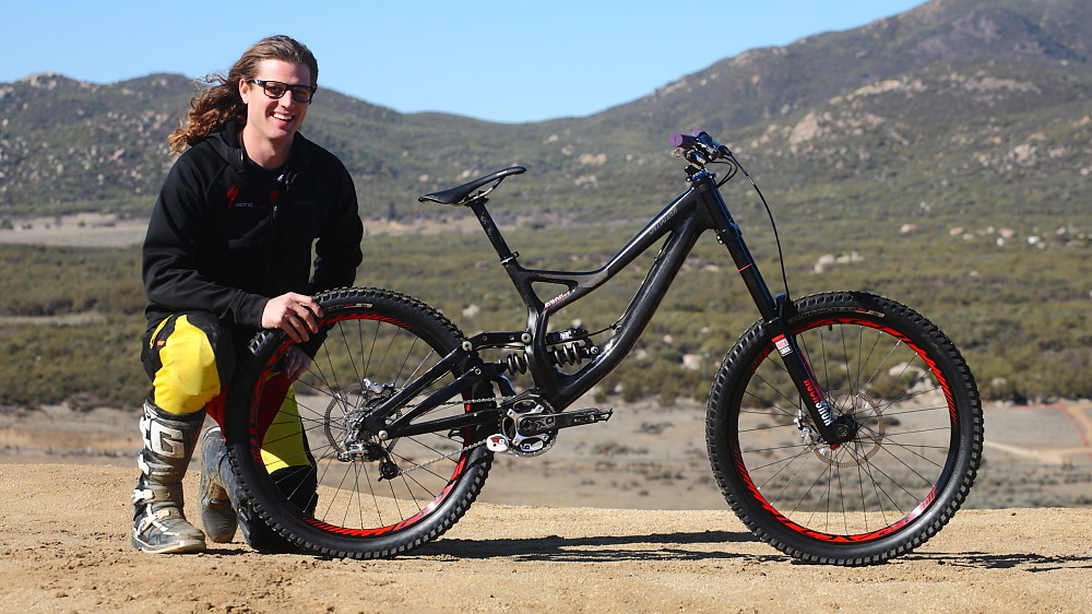 Brad Benedict with his Specialized S-Works Demo 8. Brad was a test rider during the carbon Demo's development so he has been on one since their beginnings. He brought the black beast to Vital MTB Moto day to make us jealous and run us through his setup. Enjoy the photos and specs and listen to the audio clip towards the bottom of the page.