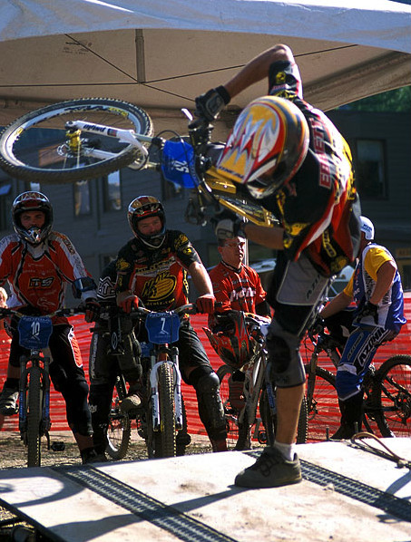 I love this photo. At the National 4x in Idaho, the course was pretty freaking flat and most riders were just there to check it off their to-do list. Kyle, always screwing around, regardless of race conditions, was jibbing on the start gate during a course hold. The expressions of Rennie and Houseman are priceless, considering Kyle was laughing the whole time, knowing everyone was annoyed with his hijinx. -gordo