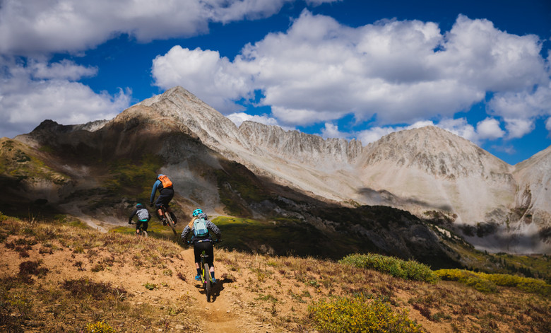 Kim, Thomas, and Iago explore the backcountry terrain outside of Crested Butte.