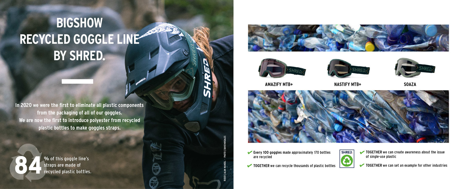SHRED. first to launch mountain bike goggles with a strap made with recycled plastic bottles.