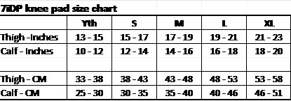 7iDP initial knee pad size chart