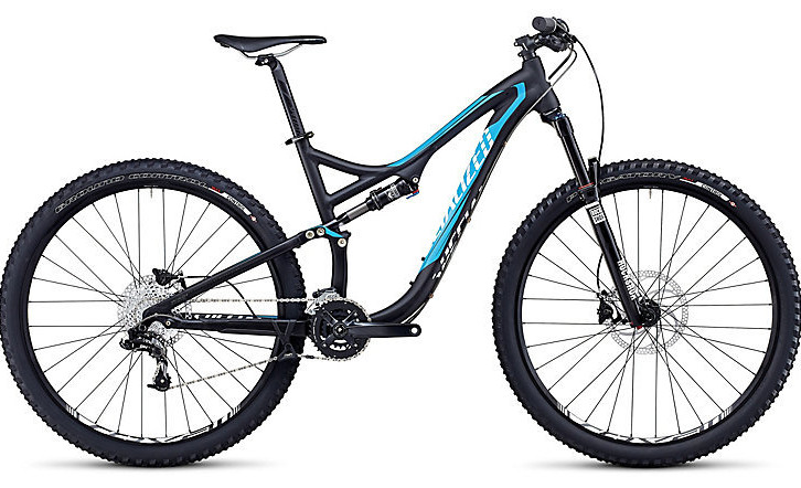 2014 Specialized Stumpjumper FSR Comp 29 Bike - Gloss:Satin Black:Cyan:White