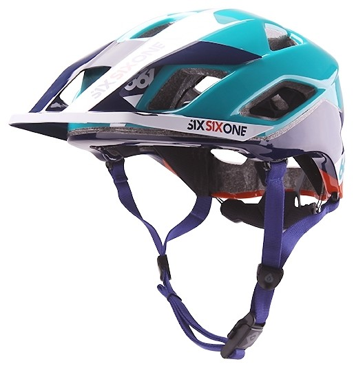 2018 SixSixOne EVO AM Helmet-Orange Blue_three quarter front