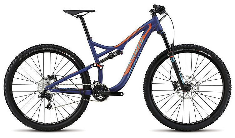 2015 Specialized Stumpjumper FSR Comp 29 - Satin Deep Blue:Moto Orange:Cyan