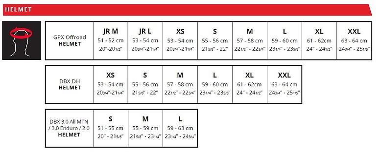 Leatt Helmets Size Chart