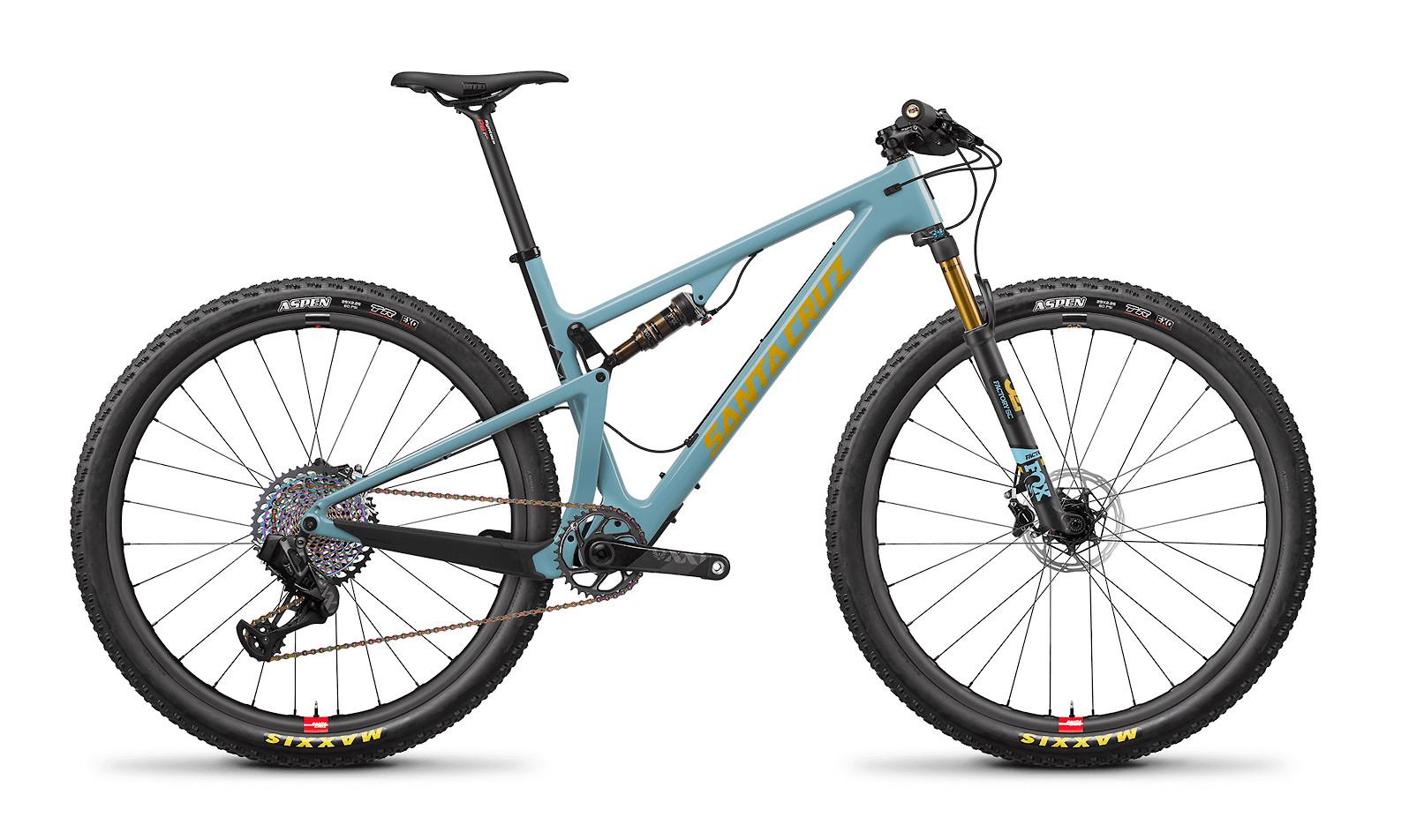 Santa Cruz Blur Carbon CC Frame (2020; Gloss Aqua and Yellow)
