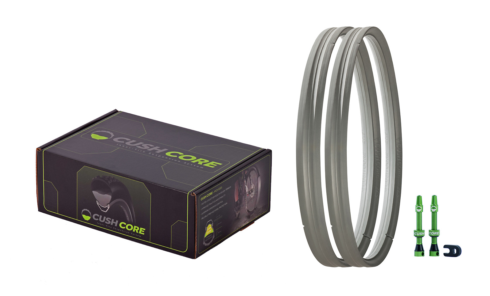 CushCore Bicycle Tire Inserts Set 29 Pair Includes 2 Bike Tubeless Valves