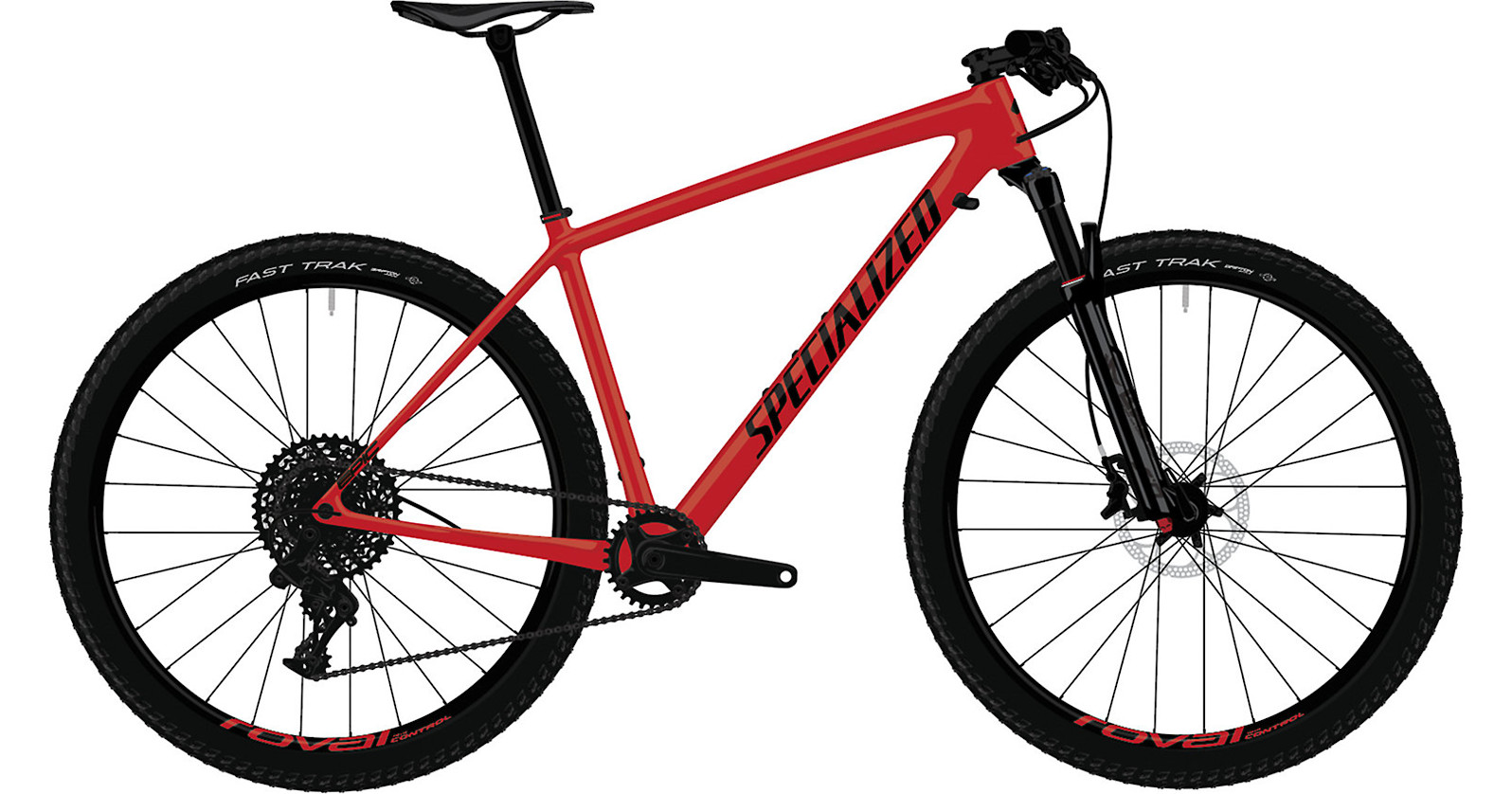 2019 Specialized Epic Hardtail Mens Comp Satin Flo Red Black