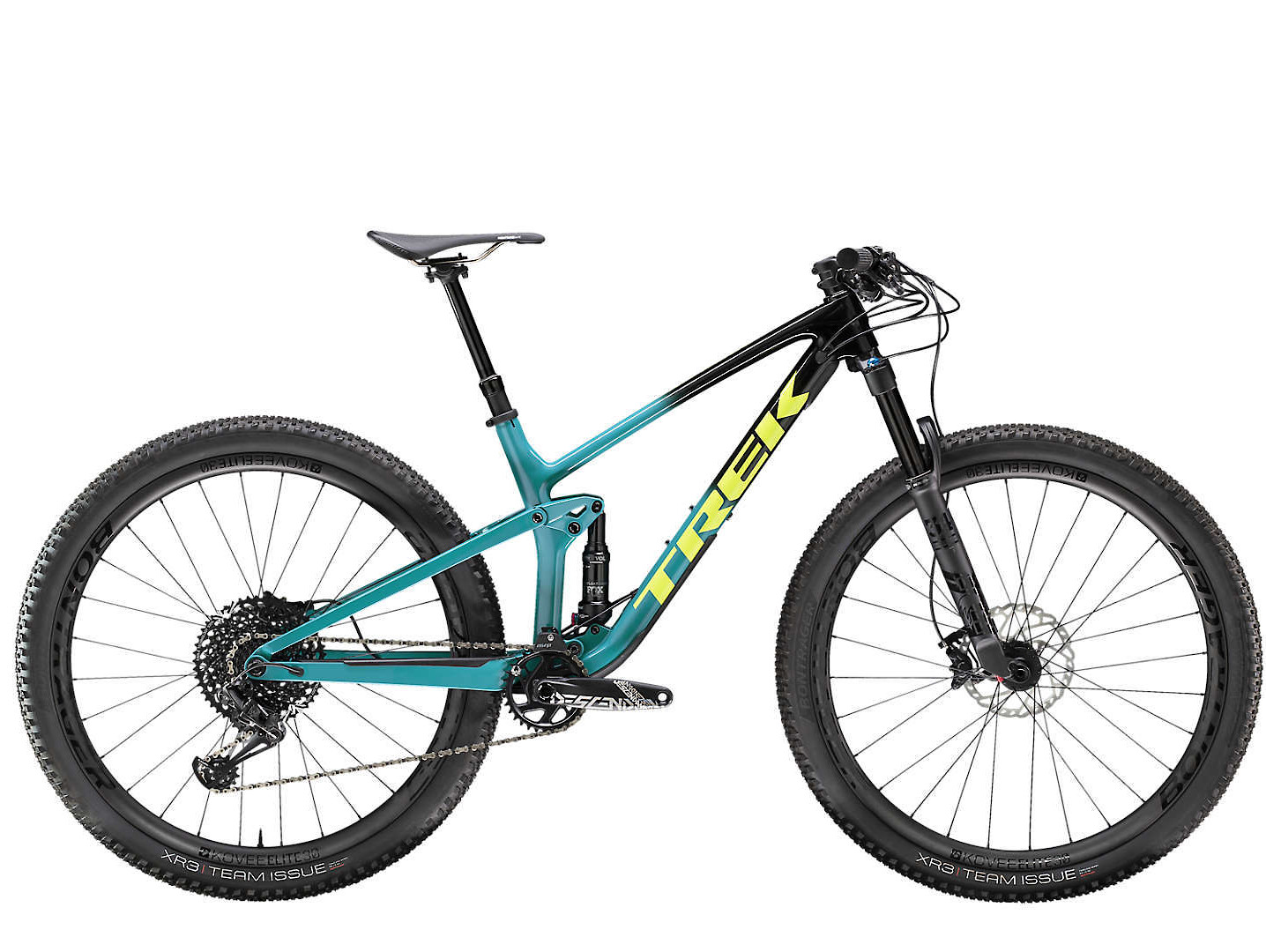 2020 Trek Top Fuel 9.8 in Trek Black to Teal Fade