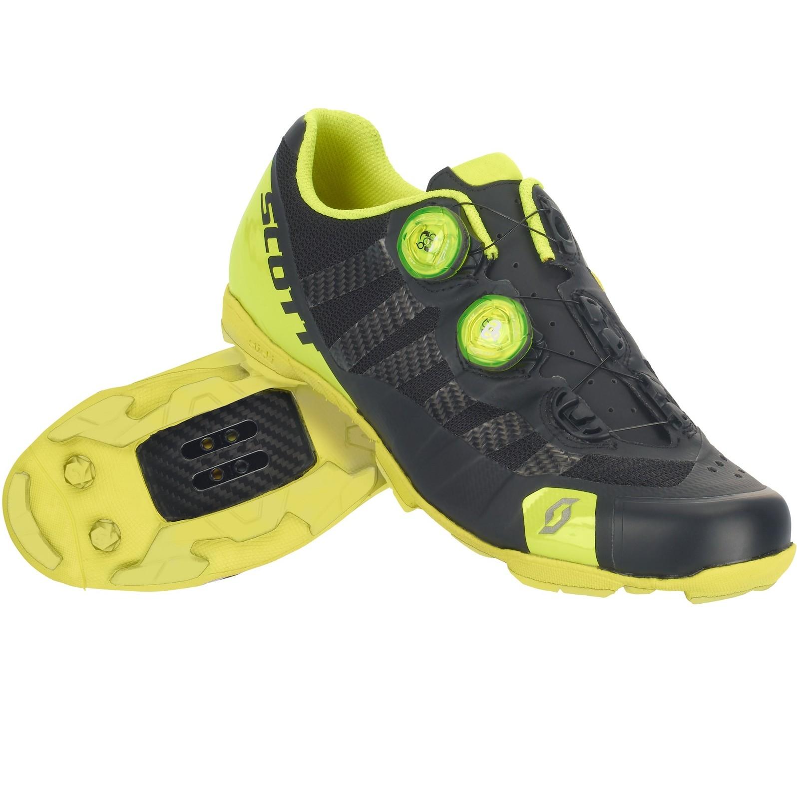 Scott RC Ultimate shoe in matte black/gloss neon yellow