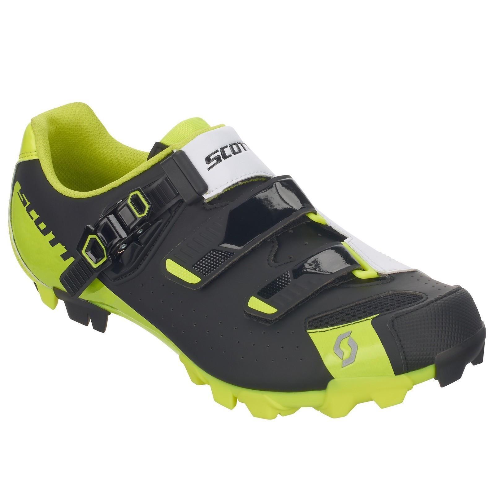 Scott Pro shoe in matte black/gloss yellow