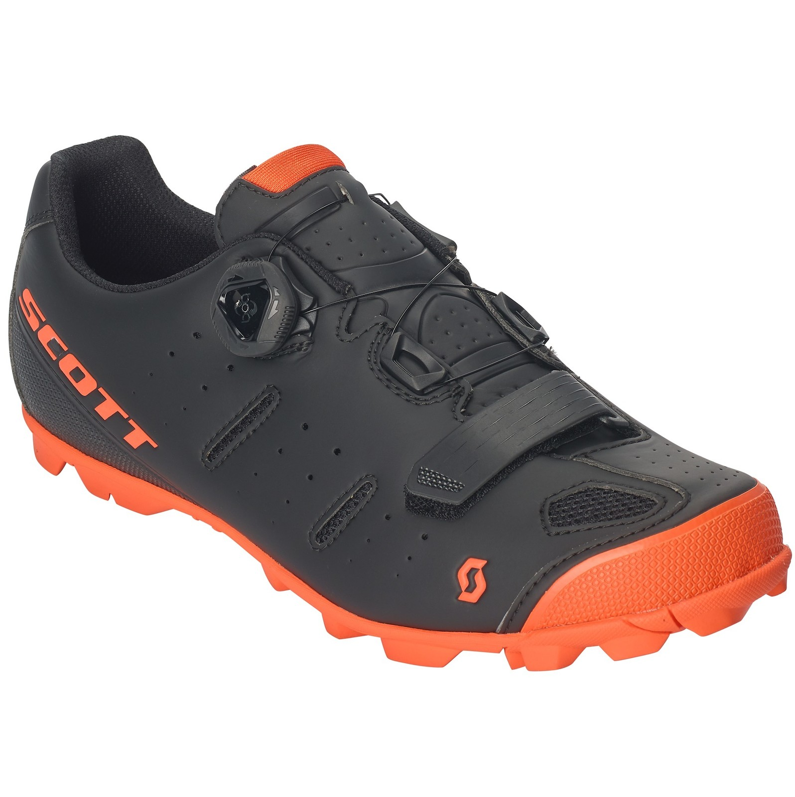 Scott Elite Boa shoe in matte black/neon orange