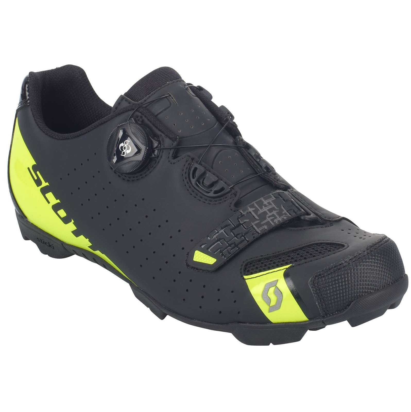 Scott Future Pro shoe in matte black/sulphur yellow
