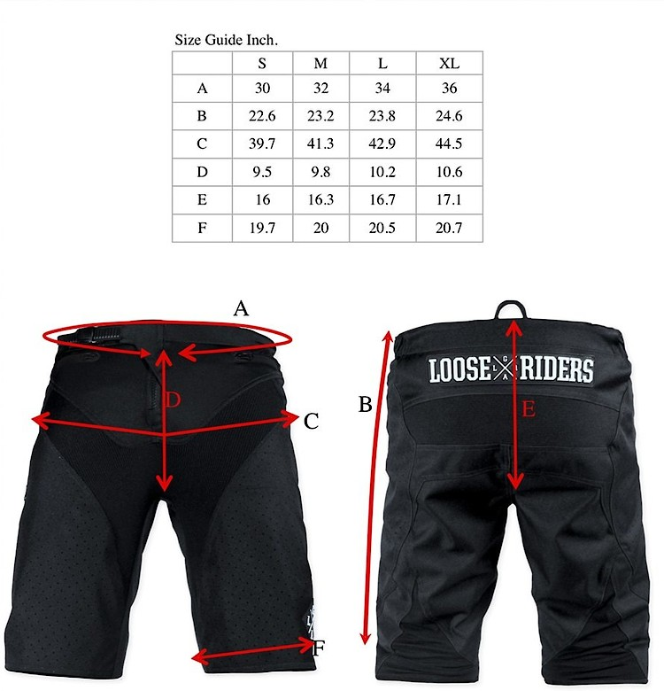 Loose Riders Size Guide