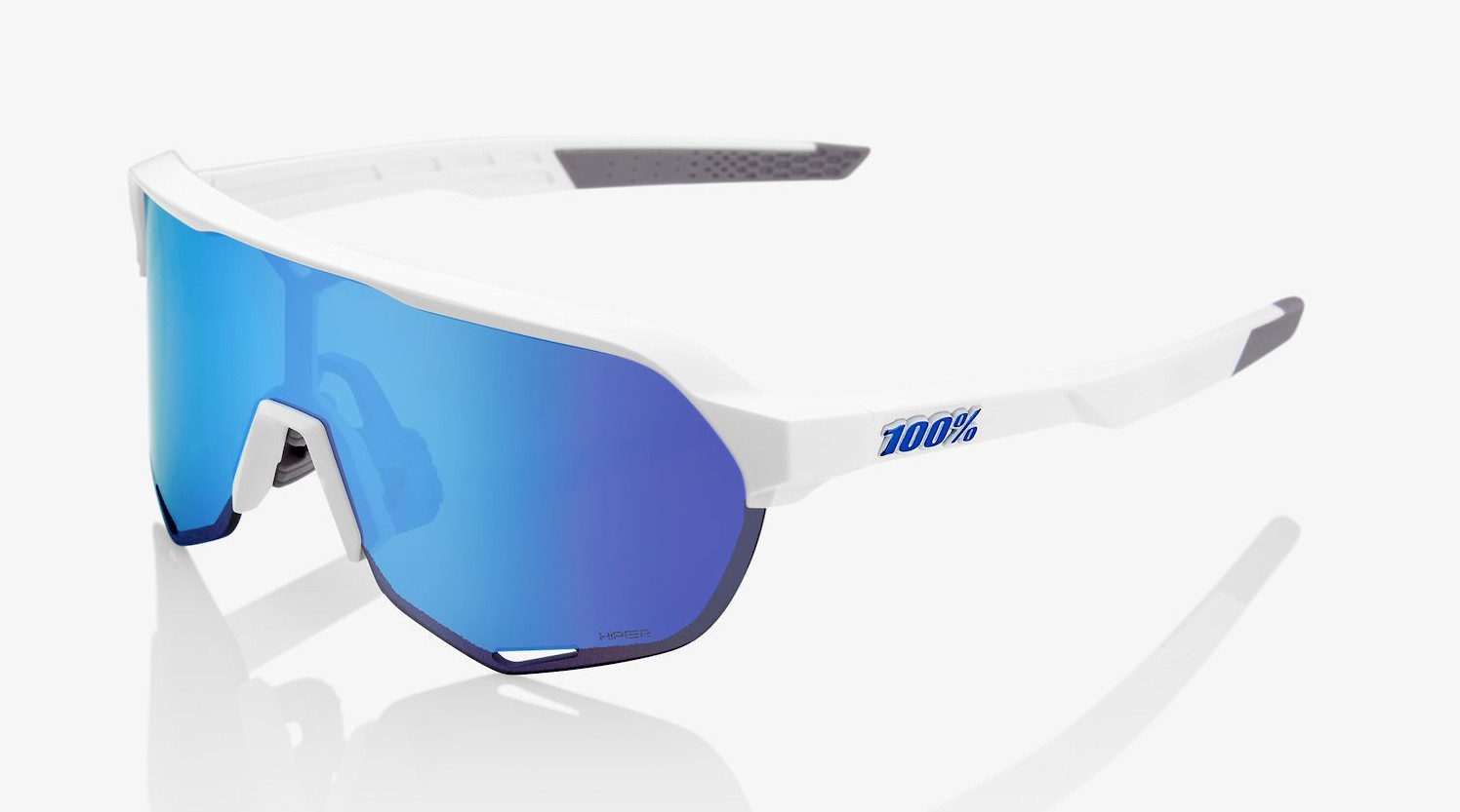 100/% S2 Sunglasses Tact Off White HiPER Red Mirror