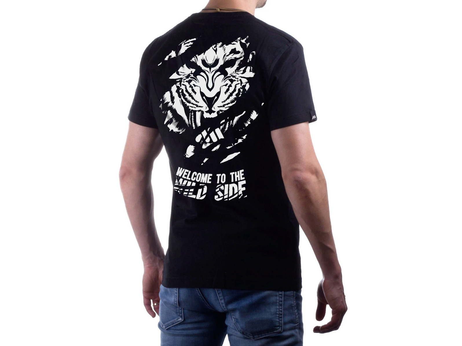 """AMS Tiger Black Tee <br>Model's height: 5'9""""/175 cm <br>Model is wearing: Size Medium"""
