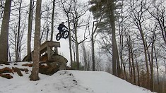 Hitting Big Drops on Fatbikes in the Snow - Downhill Fatbiking 2 at Highland MTB Park