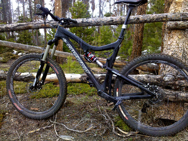 The Easton Haven Carbons on Matt's Blur LTc trail bike.