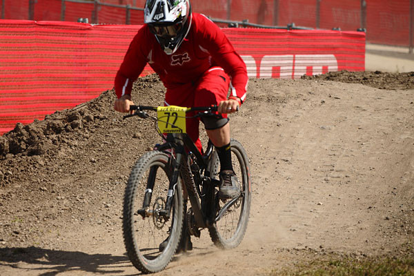 Did we mention Matt is a 215lb pro downhill rider? He's not easy on the product he runs. Sea Otter DH G-out.
