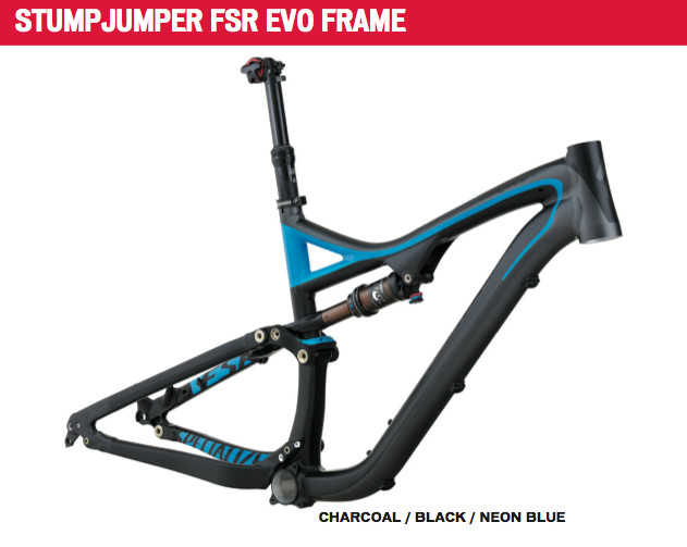 At this time, the Stumpjumper FSR EVO frameset is still only available in the alloy version only, as seen here.