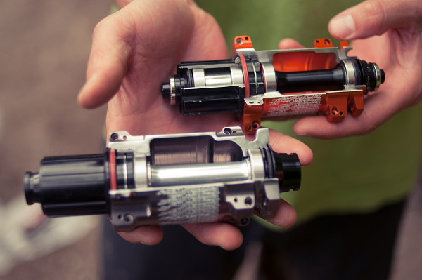 Check out the difference in hub diameter and bearing size between the 135 version (orange) and the 150 version (silver).