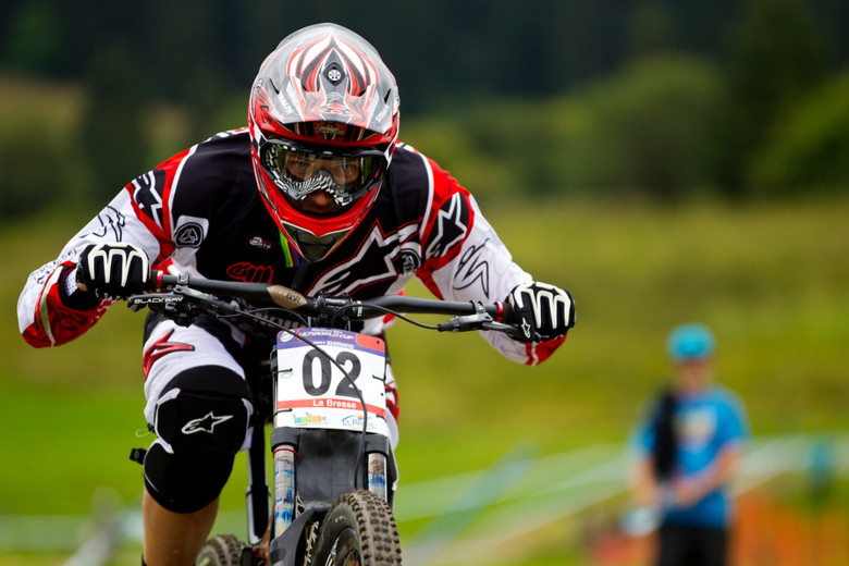 A fast and focused Greg Minnaar returned to the top of the box today. - Photo by Sven Martin