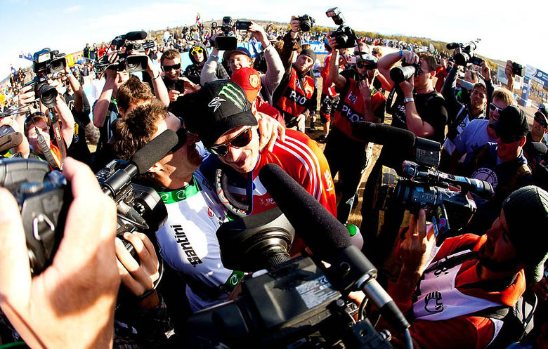Seems like Peaty wasn't the only person stoked on his World Champs win. Photo by Sven Martin