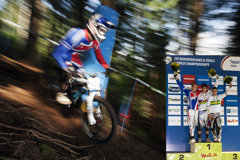 Val di Sole 2008, Gee wins his first Elite DH World Championship. photo by Gary Perkin
