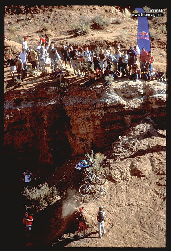 Not too long after his victory, Minnaar, the World Champ, went to Virgin, Utah for the 2003 Red Bull Rampage and competed. Yep, that's a heel clicker and he got 7th place.