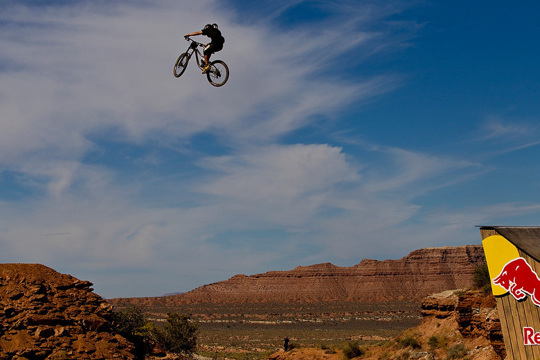 WTF!!! Graham the guinea pig, 2010 Red Bull Rampage canyon gap. Photo by Sven Martin.