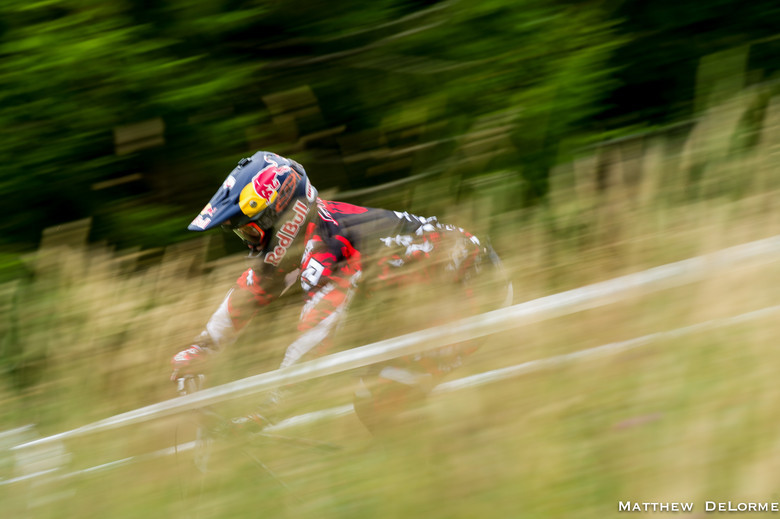 Aaron Gwin on his way to the coveted USA National Championship Title. - Photo by Matthew DeLorme
