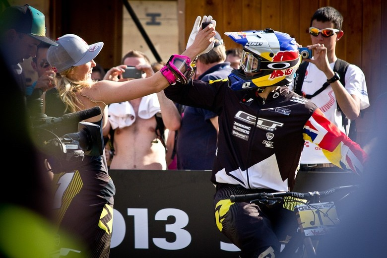 Gee and Rachel Atherton celebrating their second double victory of 2013. Photo by Brandon Turman