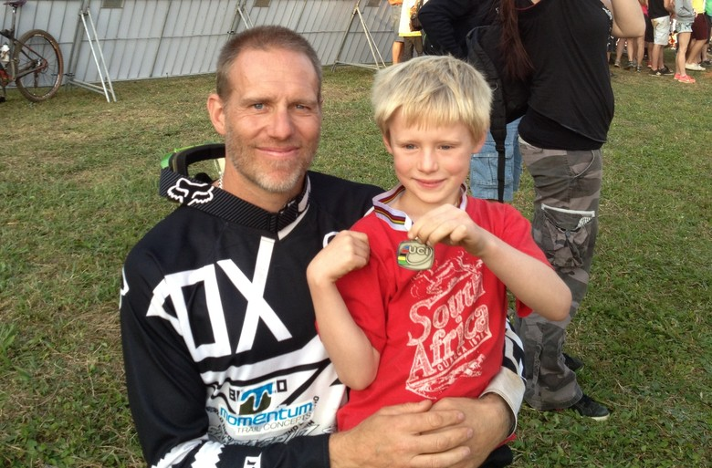 Matt with his son Cash in South Africa.
