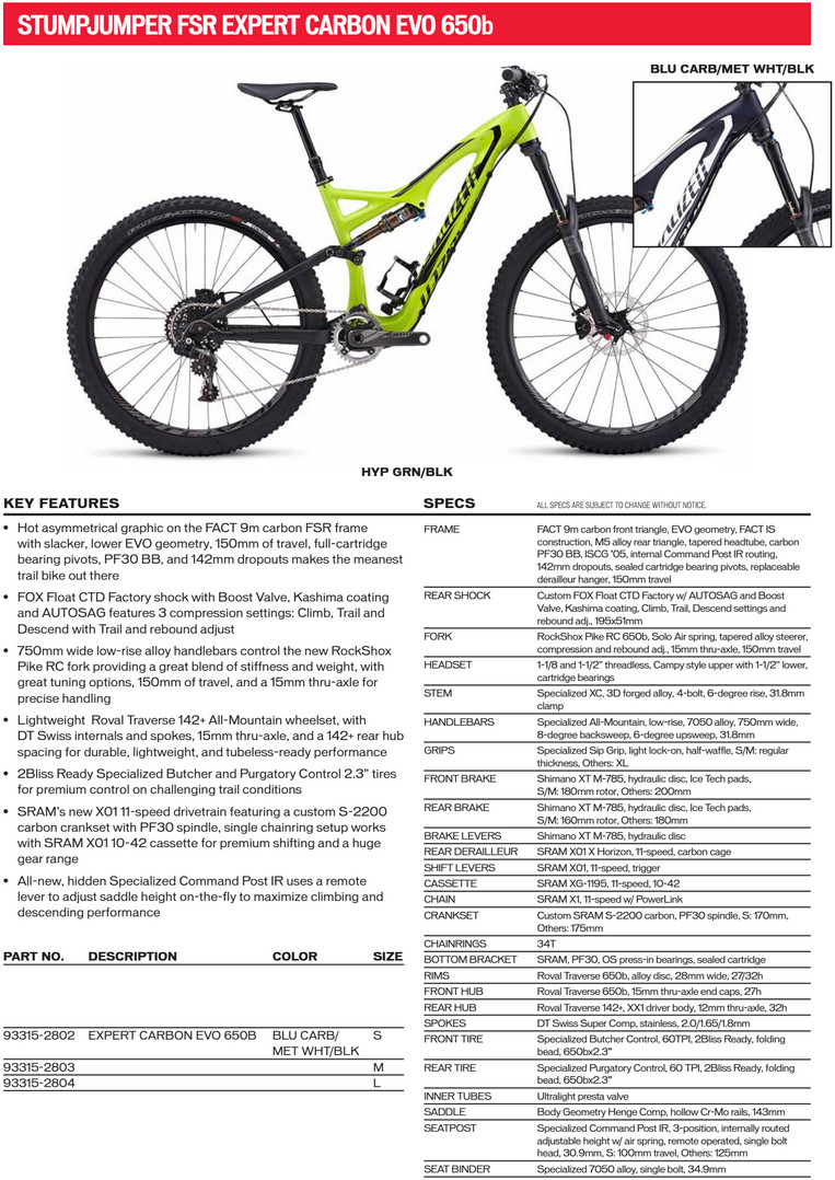 It\'s Official! Specialized Goes 650B with Stumpjumper EVO Models ...