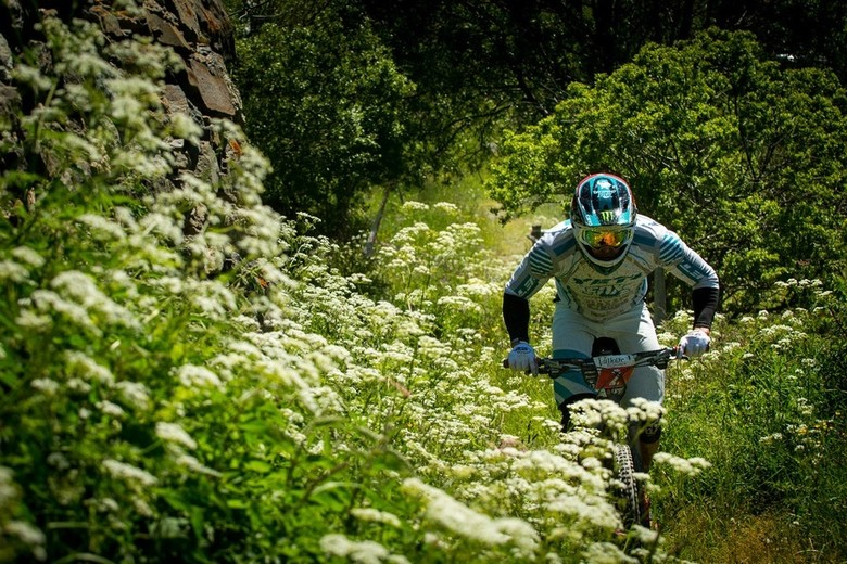 Jared Graves paying no heed to the pretty flowers during day 1 - photo by Dave Trumpore.