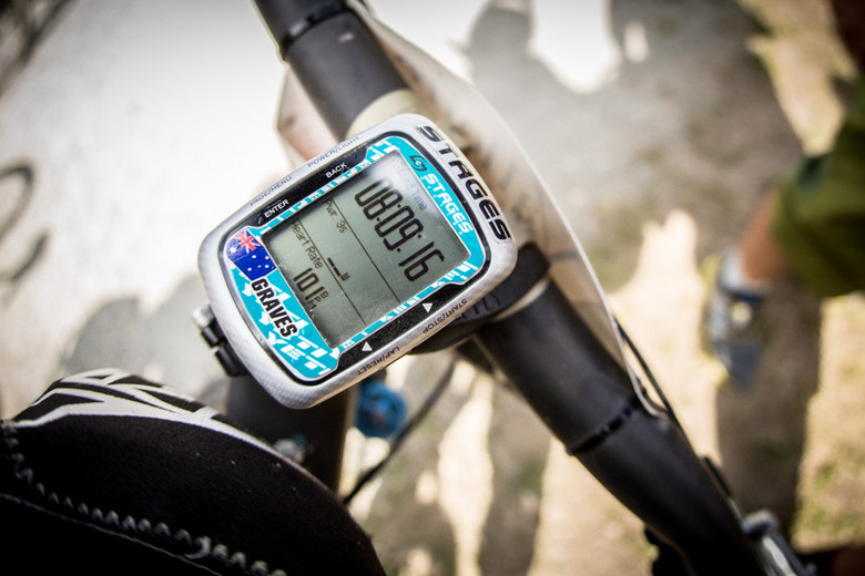 Graves' Garmin for today. 8 hours since he rolled out of the pits and over the line for the last time. Total on-track descending time over the weekend was around 4 hours. Brutal isn't half the story - photo by Lee Trumpore.