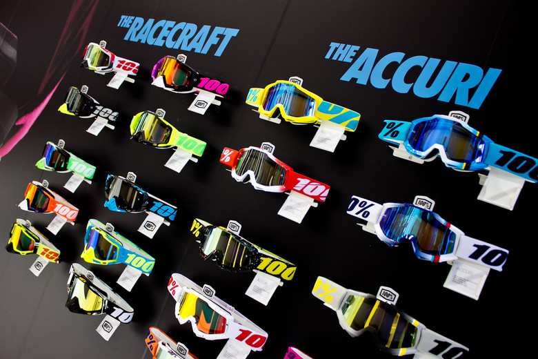 New 100% Racecraft and Accuri goggles on display at Eurobike.