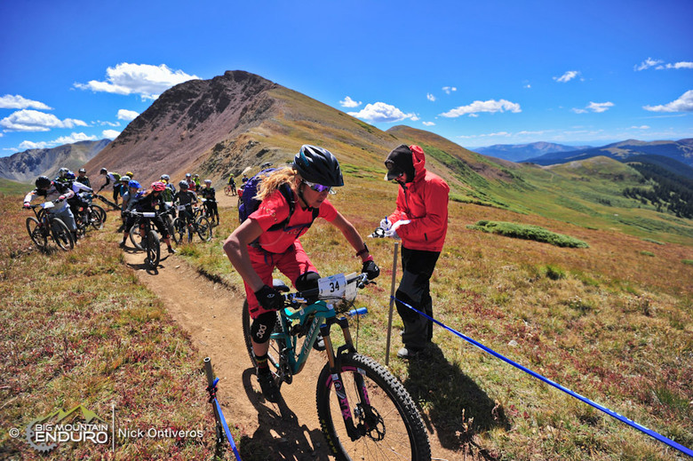 Kathy Pruitt charges off of the start line on Day 1 of the Crested Butte Ultra Enduro. Pruitt has competed in the sport since 1997, and feels that \