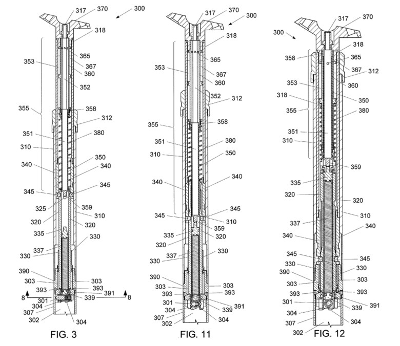 Trek's automatic drop seatpost in the up (Fig. 3), auto-drop (Fig. 11), and down (Fig. 12) positions.