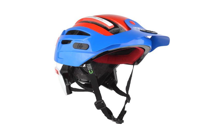 The new helmet is available in shops now in all colors and a limited quantity in blue-white-red only.