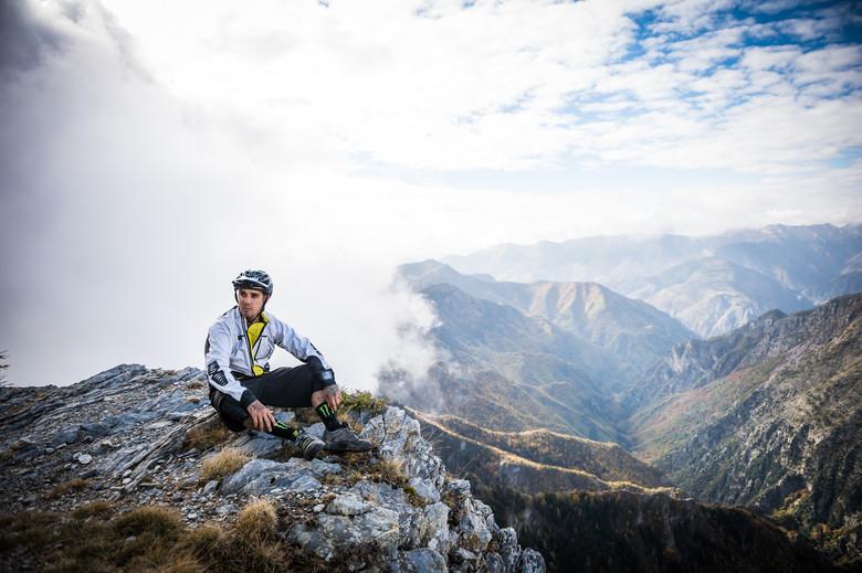 Sam taking in the amazing mountains around Dolceacqua.