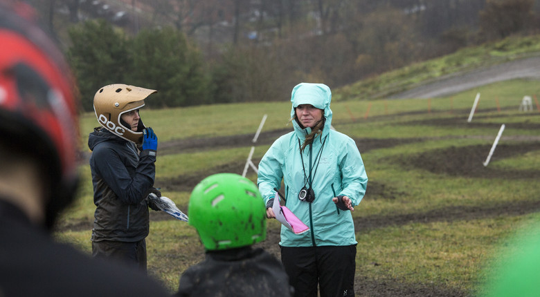 Lina and I trying to explain the rules while getting hit by sideways rain.