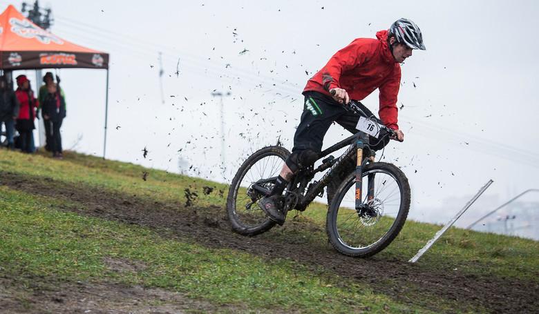 Joe Bowman felt just like home on the muddy course.