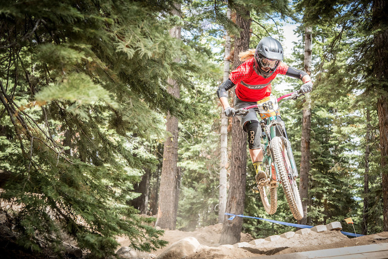 Kathy Pruitt (Juliana Bicycles) goes over the top in last year's Northstar CES stop. Photo: Called To Creation
