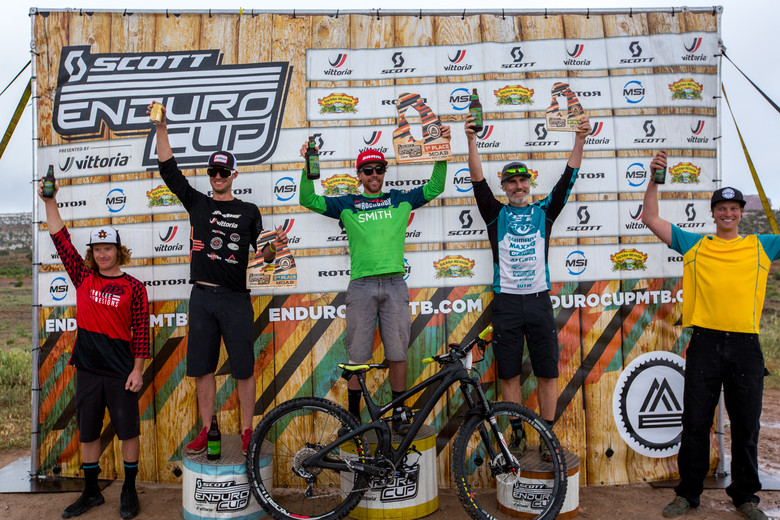 Men's Pro/Open podium for the SCOTT Enduro Cup presented by Vittoria in Moab—Photo: Sean Ryan