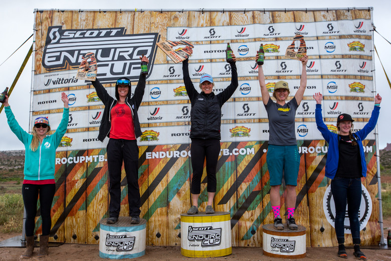 Women's Pro/Open podium for the SCOTT Enduro Cup presented by Vittoria in Moab—Photo: Sean Ryan