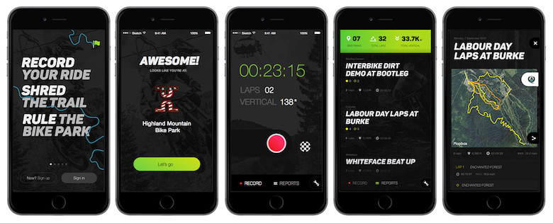 The slick looking green and black design of the BikeParkPRO mobile App.