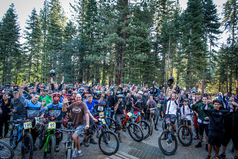 The crowd of racers at the rider meeting on day 1.