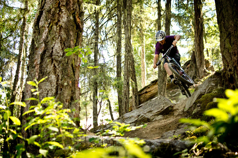 Incredible trails abound in this region, you just need to know where to look. Shawn Neer makes quick work of some rocky fun in Pemberton. - Photo by Brandon Turman